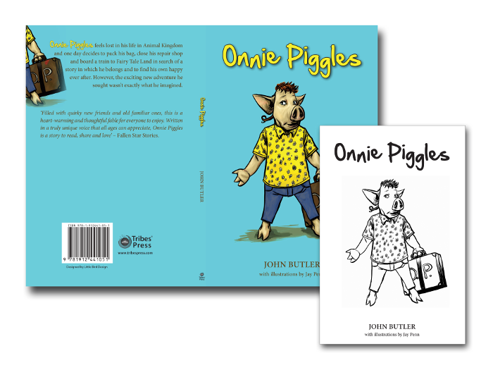 Onnie Piggles book jacket and title page