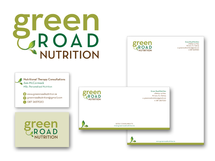 Green Road Nutrition logo design & design for print