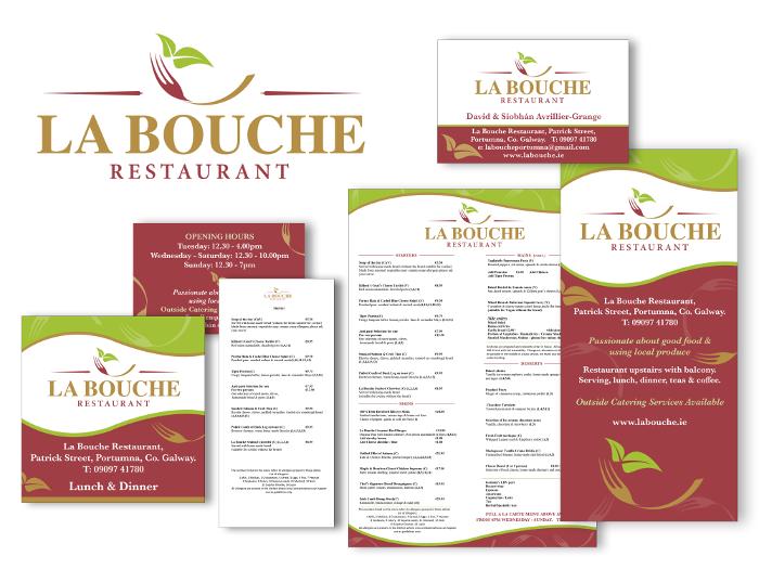 Logo design & design for print for La Bouche Restaurant